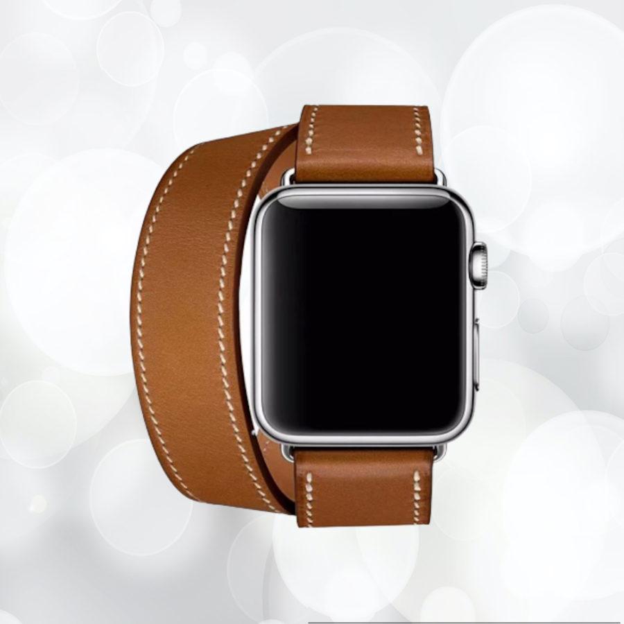Bracelet en cuir de haute qualité double boucle pour votre Apple Watch model série 1 2 3 4 5 6 SE